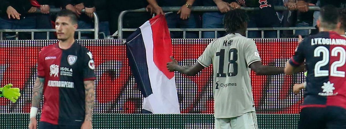 Cagliari fans shout racial epithets at Juventus's Moise Kean (18), after he scored a goal during a Serie A soccer match in Cagliari. (Fabio Murru/ANSA via AP)