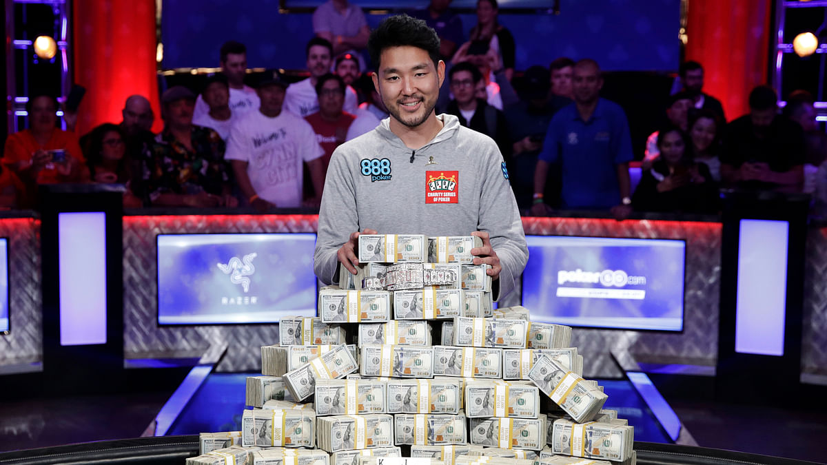 FILE - In this July 15, 2018, file photo, John Cynn poses after winning the World Series of Poker main event in Las Vegas. The 50th edition of World Series of Poker is kicking off in Las Vegas. The seven-week poker festival that opens Tuesday, May 28, 2019, will feature 89 events with an expected combined prize pool of more than $200 million. (AP Photo/John Locher, file)