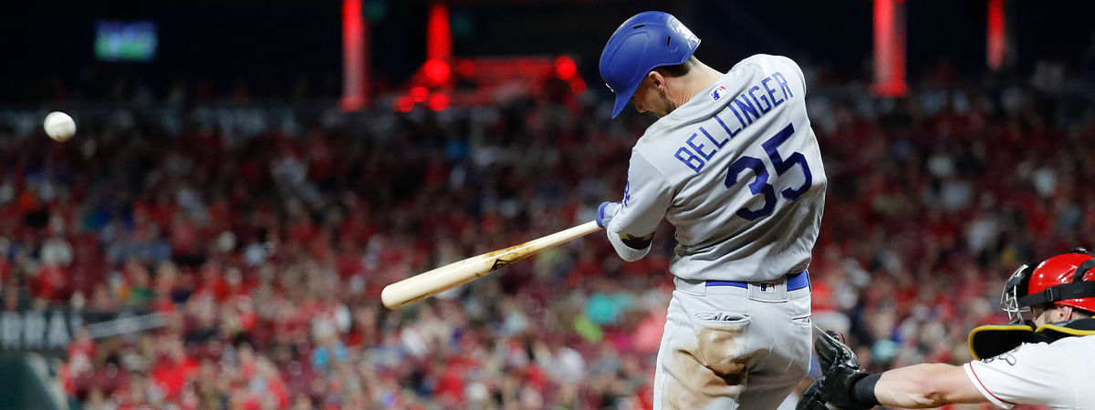 Dodgers' Cody Bellinger homers against the Reds on May 17 (John Minchillo)