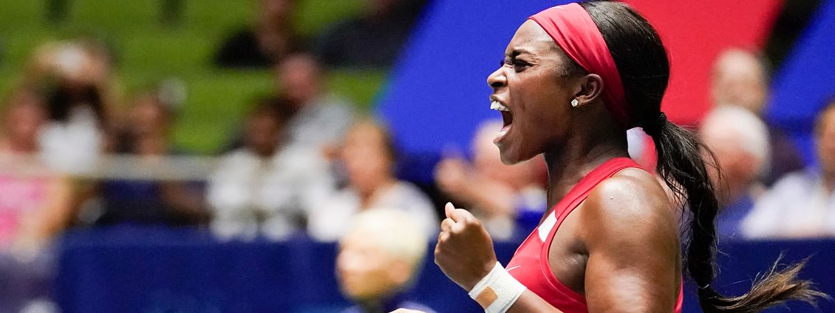 United States' Sloane Stephens reacts after defeating Switzerland's Timea Bacsinszky during their playoff-round Fed Cup tennis match on April 20, 2019.