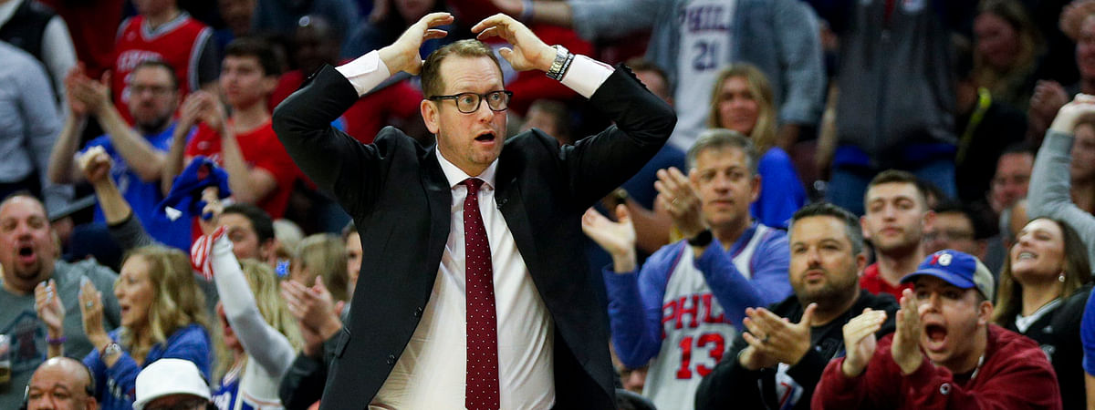 Raptors coach Nick Nurse reacts  during the second half of Game 6 on May 9 (Chris Szagola)