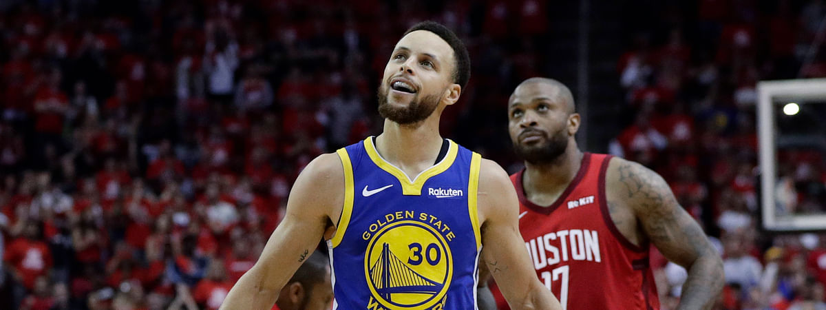 Golden State Warriors guard Stephen Curry walks upcourt after a play during the second half in Game 6 of the team's second-round NBA basketball playoff series against the Houston Rockets on May 10, 2019.