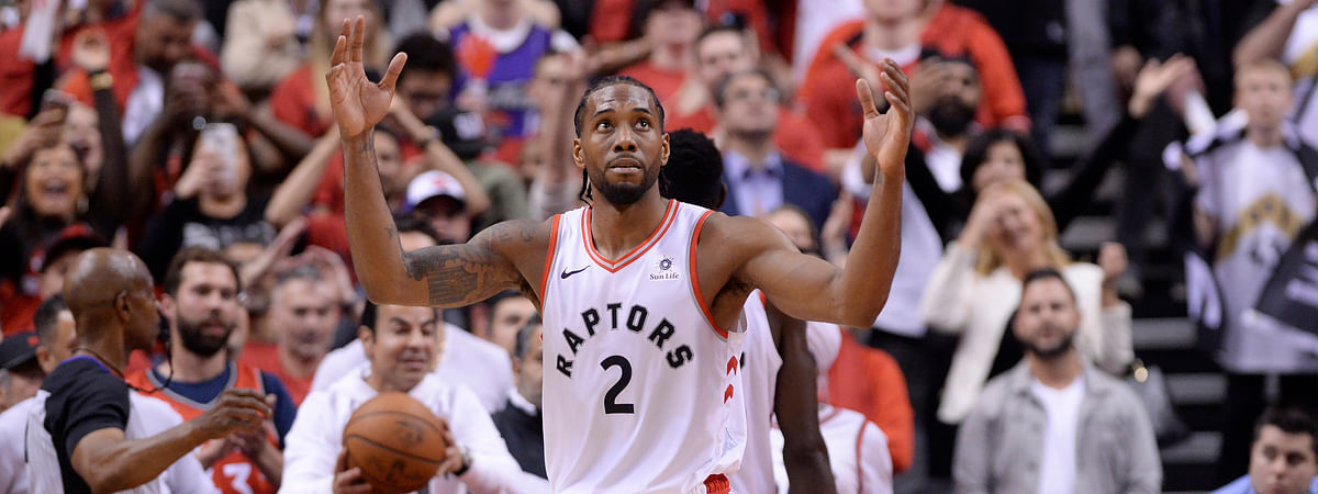 Toronto Raptors forward Kawhi Leonard reacts as following the Raptors win in Game 3 of the NBA basketball playoffs Eastern Conference finals in Toronto on May 19, 2019.