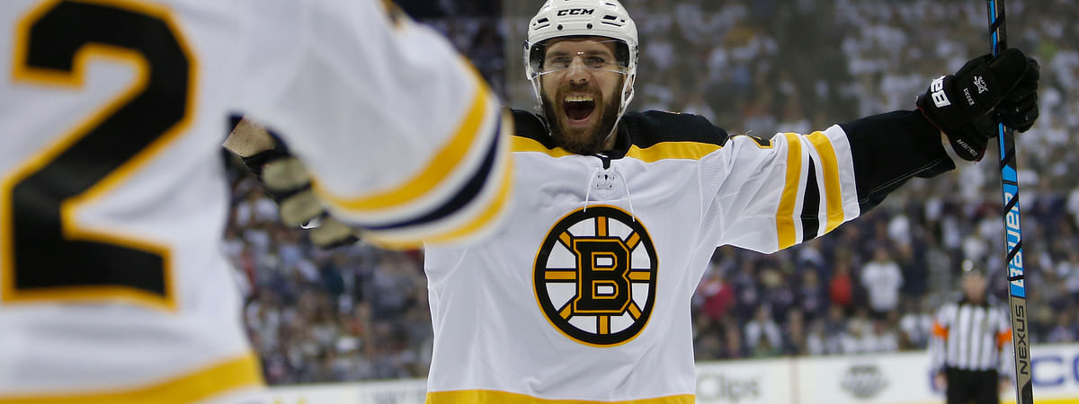 Boston Bruins' David Krejci, of the Czech Republic, celebrates a goal against the Columbus Blue Jackets during the third period of Game 6 of an NHL hockey second-round playoff series on May 6, 2019.