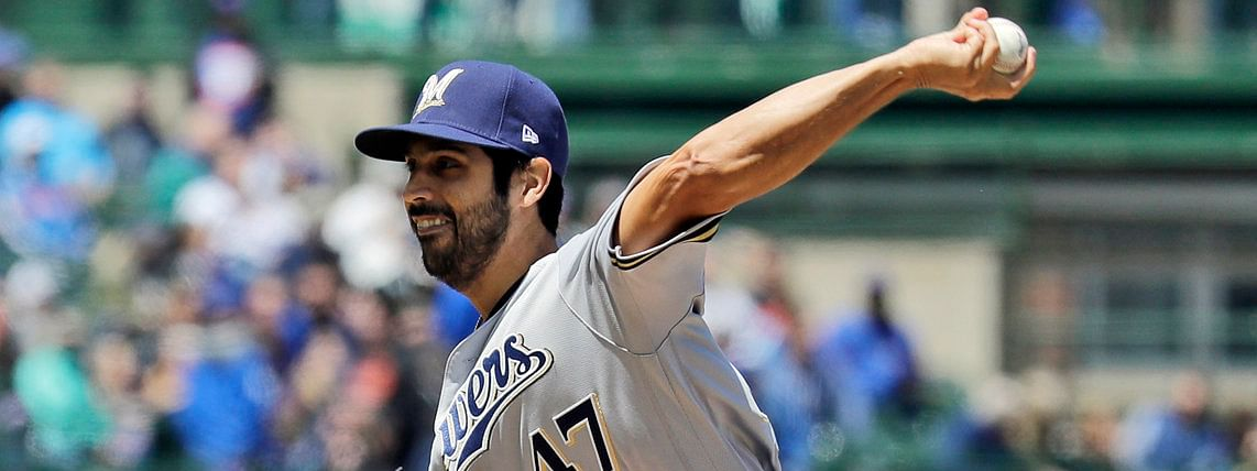 Milwaukee's Gio Gonzalez pitches in the first inning of the Brewers' 7-0 win in Chicago May 10 (Nam Y. huh)