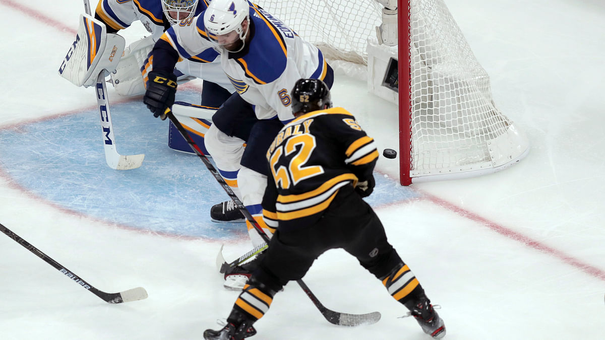 Stanley Cup Game 1: Bruins come back from 2-0 deficit to win 4-2; Sean Kuraly has a goal and an assist for Boston