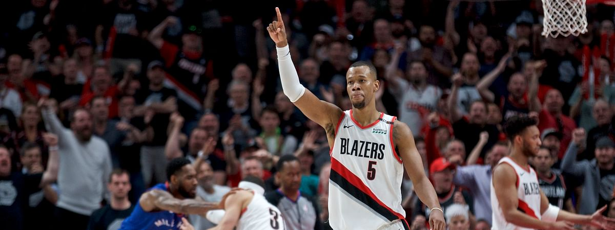 Portland's Rodney Hood gestures during the second half of Game 6 on May 9 (Craig Mitchelldyer)
