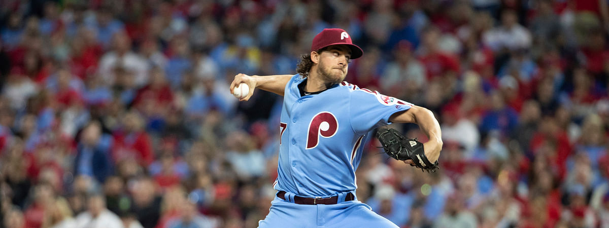 Phillies' Aaron Nola pitches against the Marlins on April 25 (Chris Szagola)