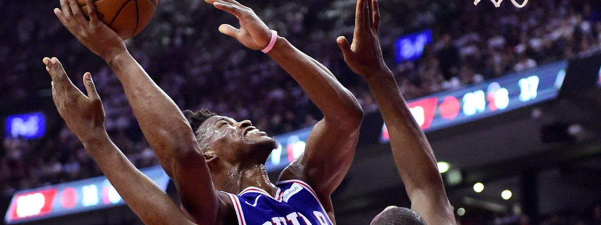 Sixers' Jimmy Butler powers to the basket in Game 5 on May 7 (Frank Gunn/The Canadian Press)