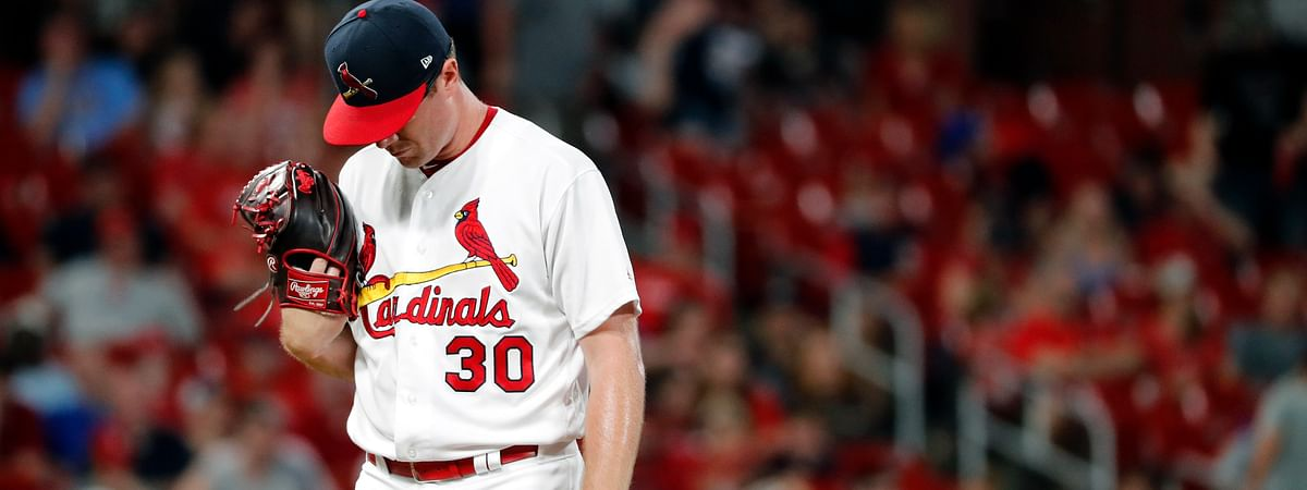 Cardinals  pitcher Tyler Webb waits to be removed after allowing a bases-loaded walk to Atlanta' Brian McCann on May 26 (Jeff Roberson)
