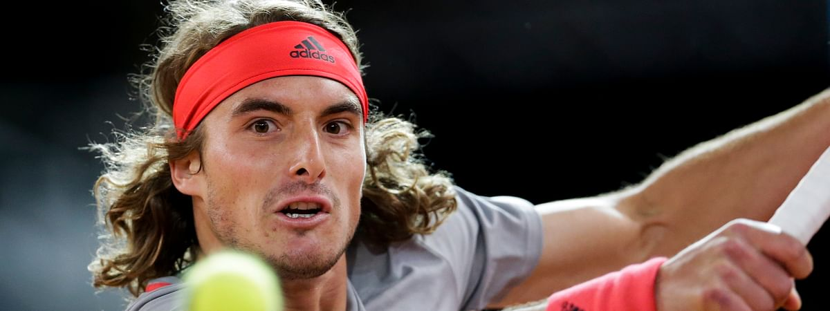 Stefanos Tsitsipas will meet Andrey Rublev in the first round of the U.S. Open. (AP Photo/Bernat Armangue)
