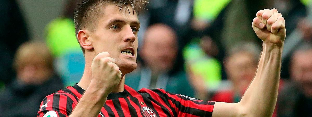 AC Milan's Krzysztof Piatek celebrates after scoring his team's first goal during the Italian serie A soccer match between AC Milan and Frosinone on May 19, 2019.