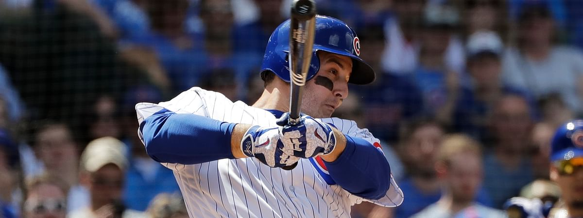 Chicago Cubs' Anthony Rizzo hits a two-run double during the fourth inning of a baseball game against the Cincinnati Reds, Saturday, May 25, 2019, in Chicago. (AP Photo/Nam Y. Huh)