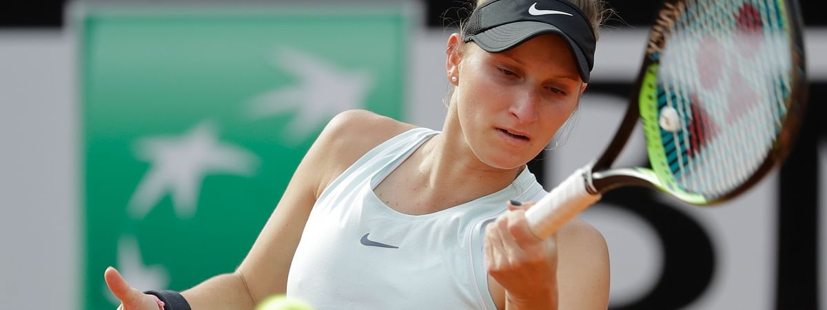 FILE - In this May 17, 2019, file photo, Marketa Vondrousova, 19, of the Czech Republic, is a player to watch at the 2019 French Open. (AP Photo/Andrew Medichini, File)