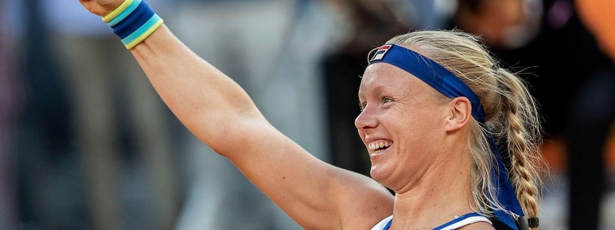 Kiki Bertens  celebrates after winning the Madrid Open final against Simona Halep on May 11 (Bernat Armangue)