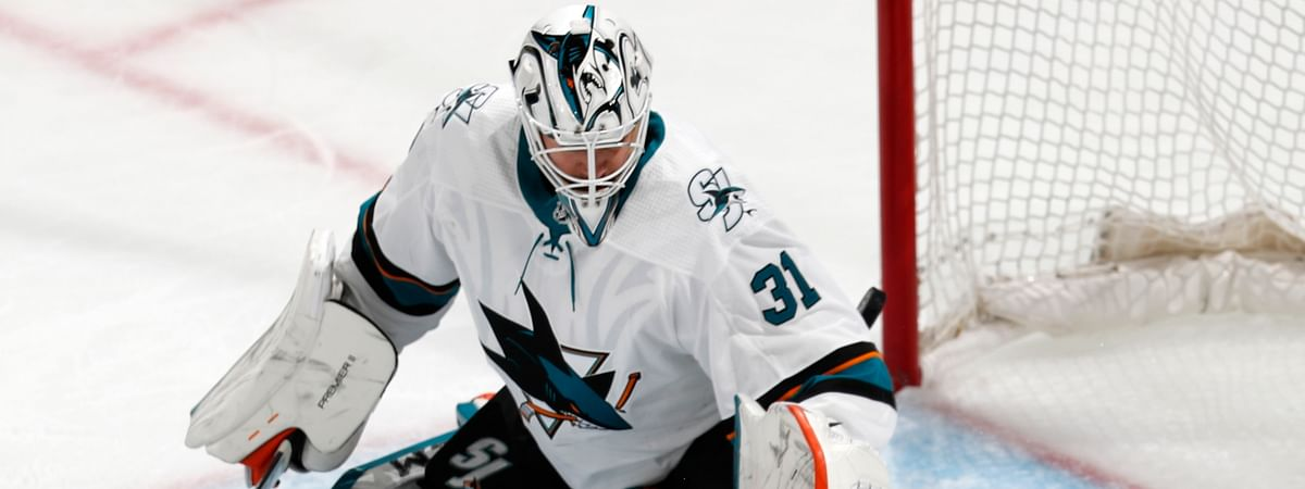 San Jose Sharks goaltender Martin Jones fails to stop a shot by Colorado Avalanche left wing Matt Nieto that went into the net for a goal during Game 3 of an NHL hockey second-round playoff series on April 30, 2019.