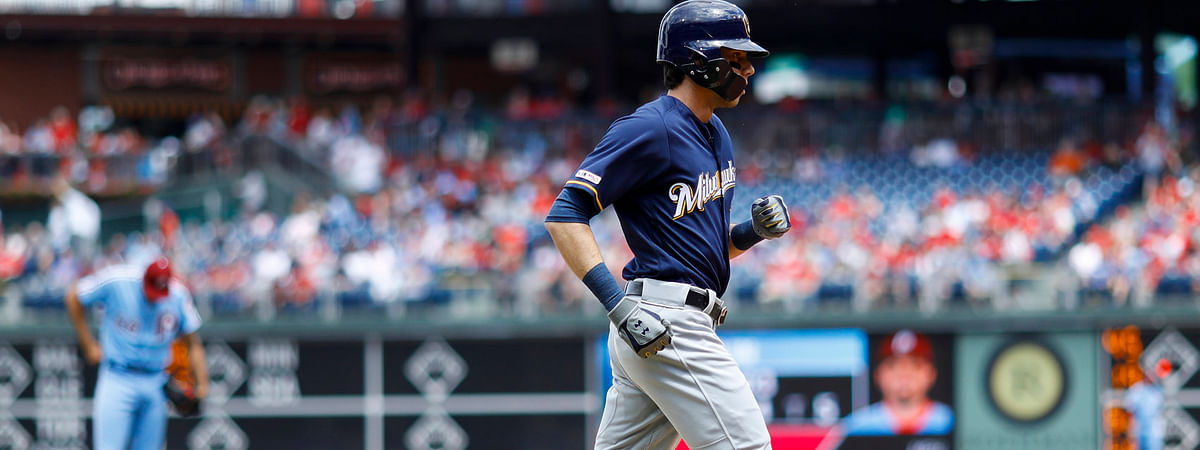 Brewers' Christian Yelich on Thursday finishes one of the seven home run trots the Brewers got to take in their four games with the Phillies this week (Matt Slocum)