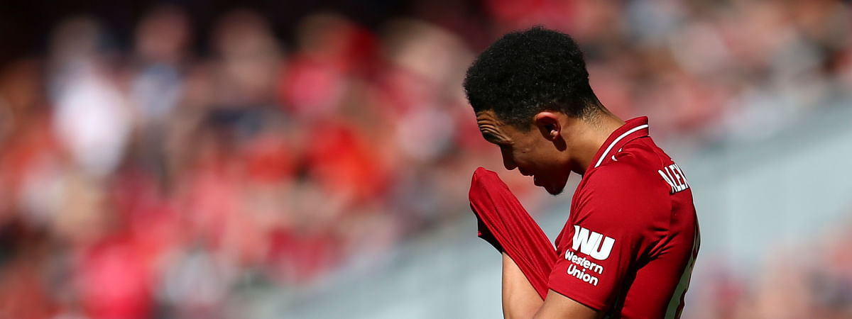 Liverpool's Trent Alexander-Arnold reacts during the English Premier League soccer match between Liverpool and Wolverhampton Wanderers at the Anfield stadium in Liverpool, England, Sunday, May 12, 2019. (AP Photo/Dave Thompson)