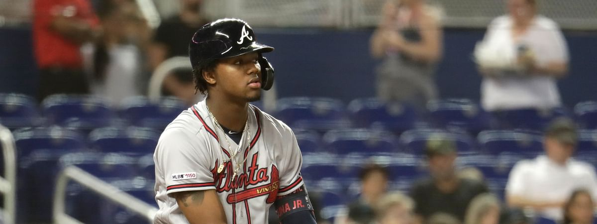 Atlanta Braves' Ronald Acuna Jr. drops his bat after striking out during the first inning of a baseball game against the Miami Marlins, Friday, May 3, 2019, in Miami. (AP Photo/Lynne Sladky)