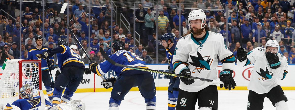Sharks defenseman Erik Karlsson skates away after scoring the winning overtime goal  in Game 3 on May 15 (Jeff Roberson)