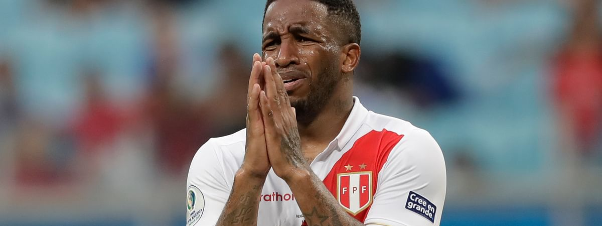 Peru's Jefferson Farfan reacts after the referee annulled his goal against Venezuela during a Copa America Group A soccer match at the Arena do Gremio stadium in Porto Alegre, Brazil, Saturday, June 15, 2019. (AP Photo/Andre Penner)