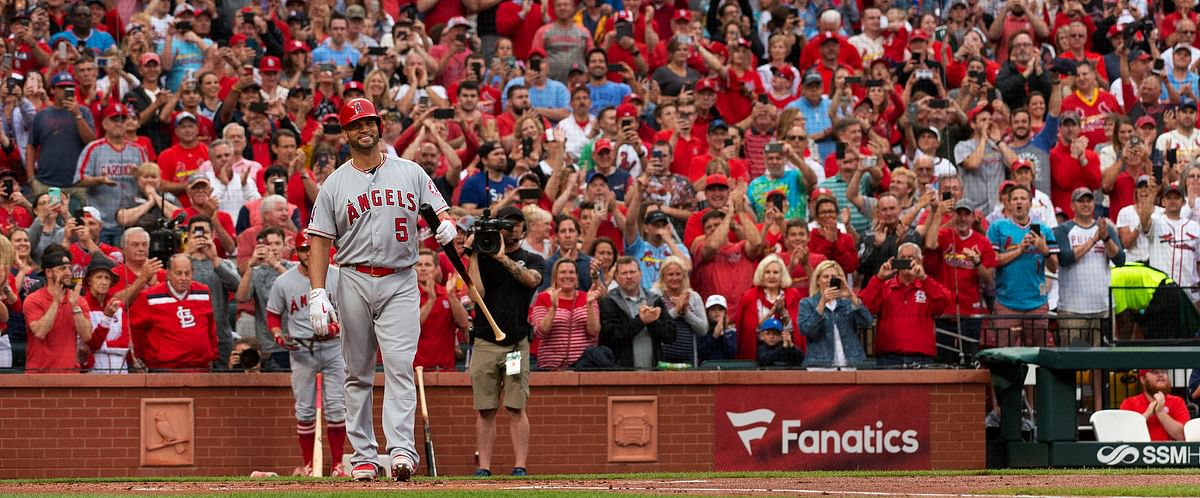 Angels' Albert Pujols (5) is greeted by a standing ovation before his first at-bat during the first inning in St. Louis on June 21 (L.G. Patterson)