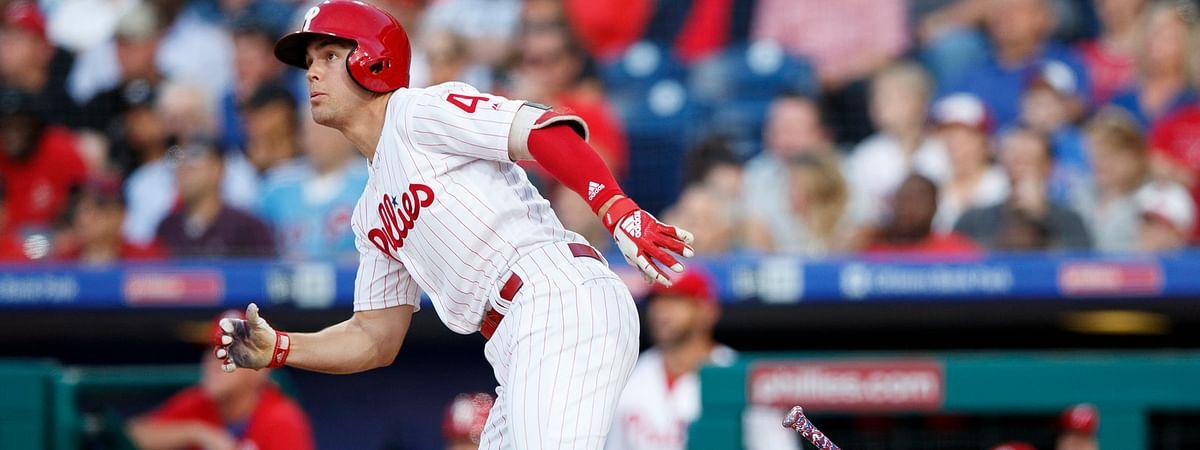 Phillies' Scott Kingery watches the flight of his three-run home run June 11 (Matt Slocum)