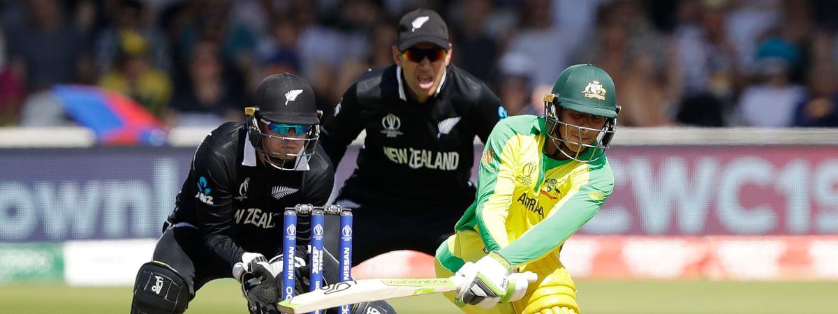 Australia's Usman Khawaja plays a shot during the Cricket World Cup match between New Zealand and Australia at Lord's cricket ground in London, Saturday, June 29, 2019. (AP Photo/Matt Dunham)