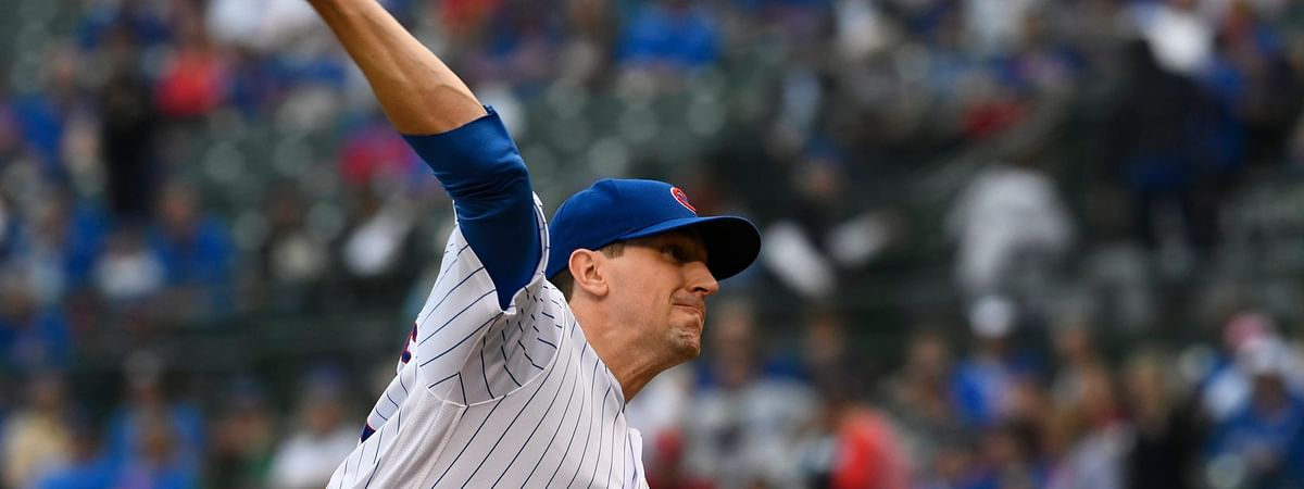 Cubs starter  Kyle Hendricks delivers a pitch in the first  inning on June 9 (Matt Marton)