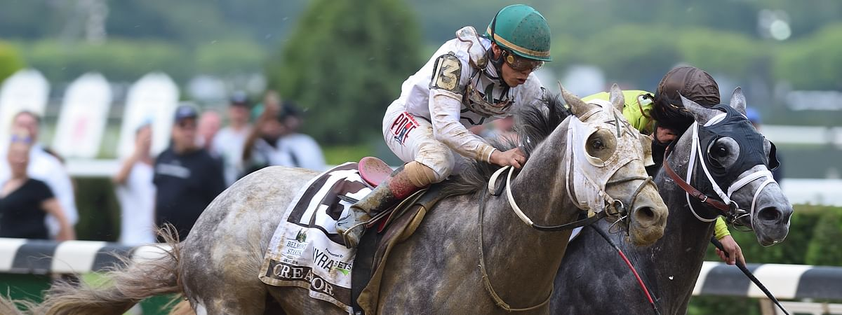 Creator battles Destin in the stretch of the 2016 Belmont Stakes