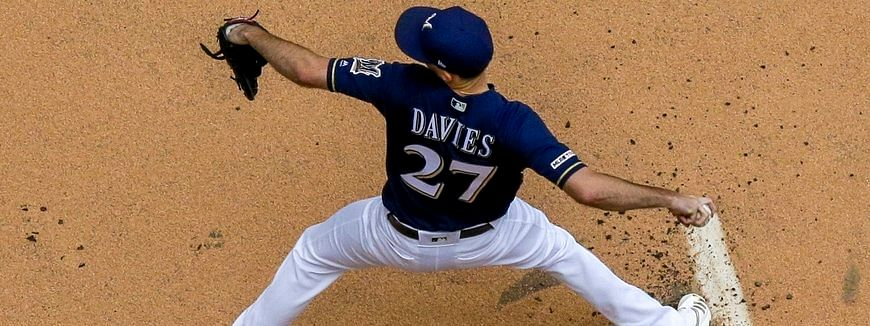 Brewers starting pitcher Zach Davies throws during the first inning  June 8 (Morry Gash)