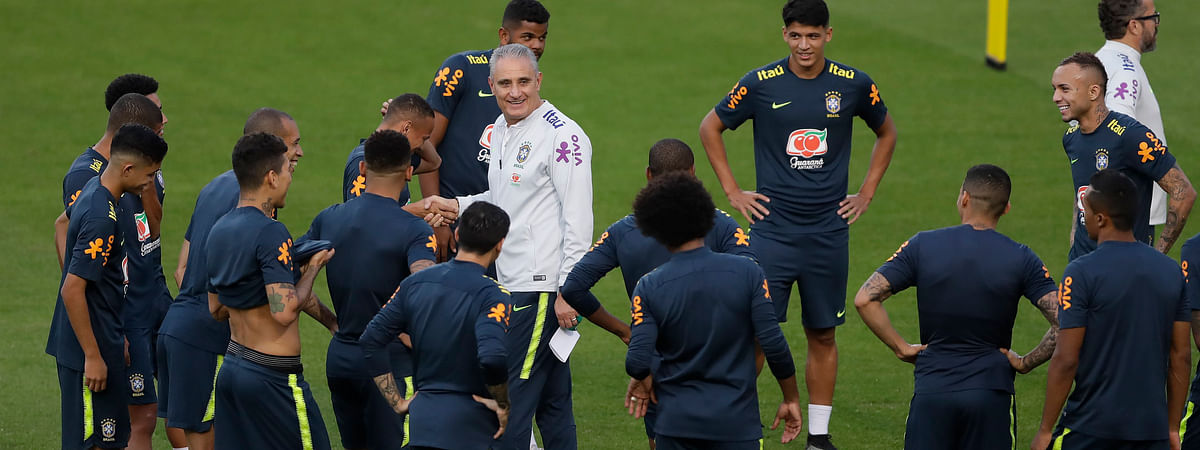 Brazil team readies for COPA America during practice on June 11 (Andre Penner)