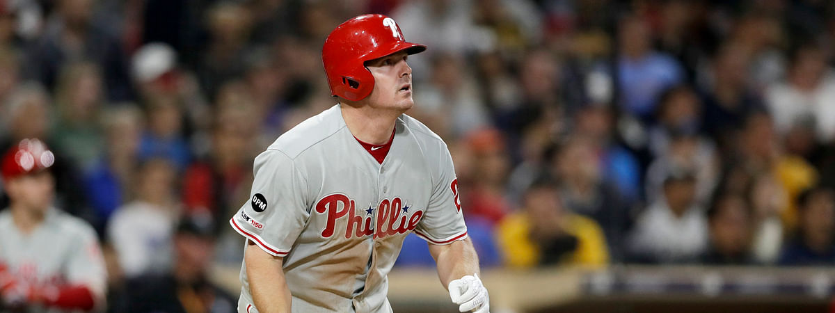 Phillies' Jay Bruce watches his grand slam during the fifth inning on June 4  (Gregory Bull)