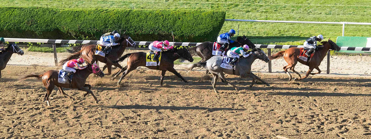 Sir Winston (7), with Joel Rosario up, pulls ahead of the pack on the final stretch to win the Belmont Stakes on June 8 (Mary Altaffer)