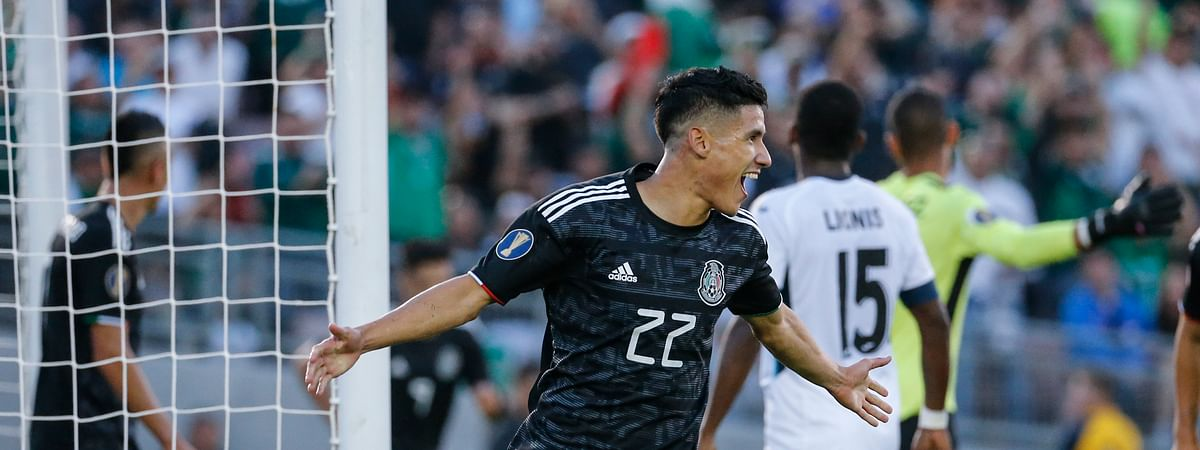 Mexico defender Jorge Sánchez (22) celebrates his goal against Cuba during the first half of a CONCACAF Gold Cup soccer match in Pasadena, Calif., Saturday, June 15, 2019. (AP Photo/Ringo H.W. Chiu)
