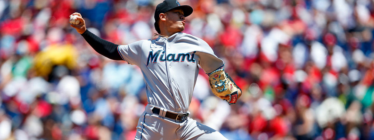 Marlins' Jordan Yamamoto pitches against the Phillies on June 23 (Matt Slocum)