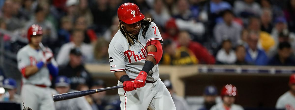 Phillies' Maikel Franco homers in the eighth innings on June 4 (Gregory Bull)