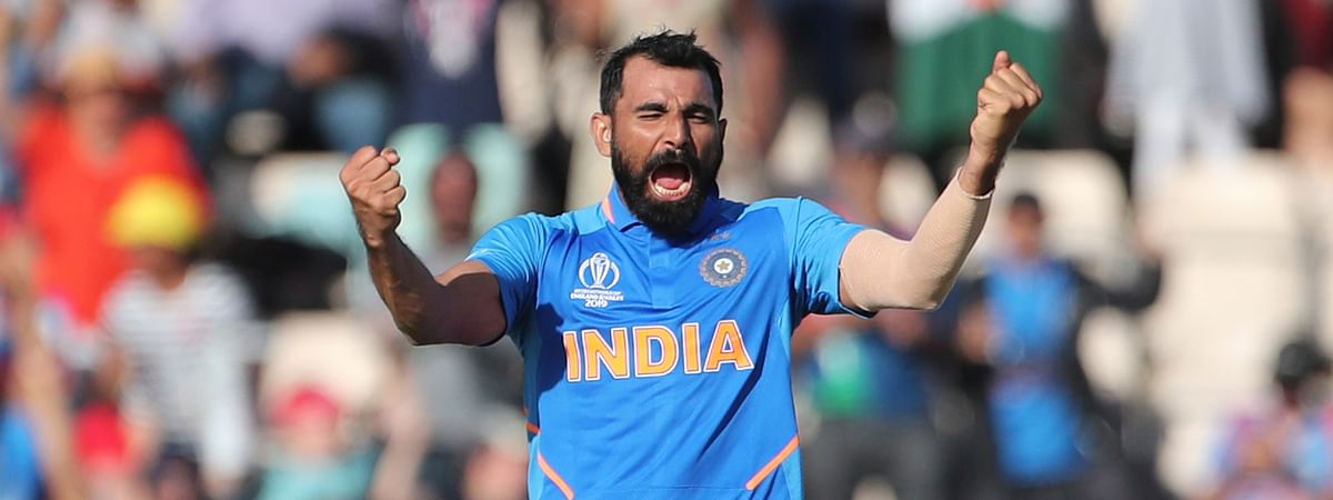India's Mohammed Shami celebrates his hat-trick after dismissing Afghanistan's Mujeeb Ur Rahman during the Cricket World Cup match between India and Afghanistan at the Hampshire Bowl in Southampton, England, Saturday, June 22, 2019. (AP Photo/Aijaz Rahi)