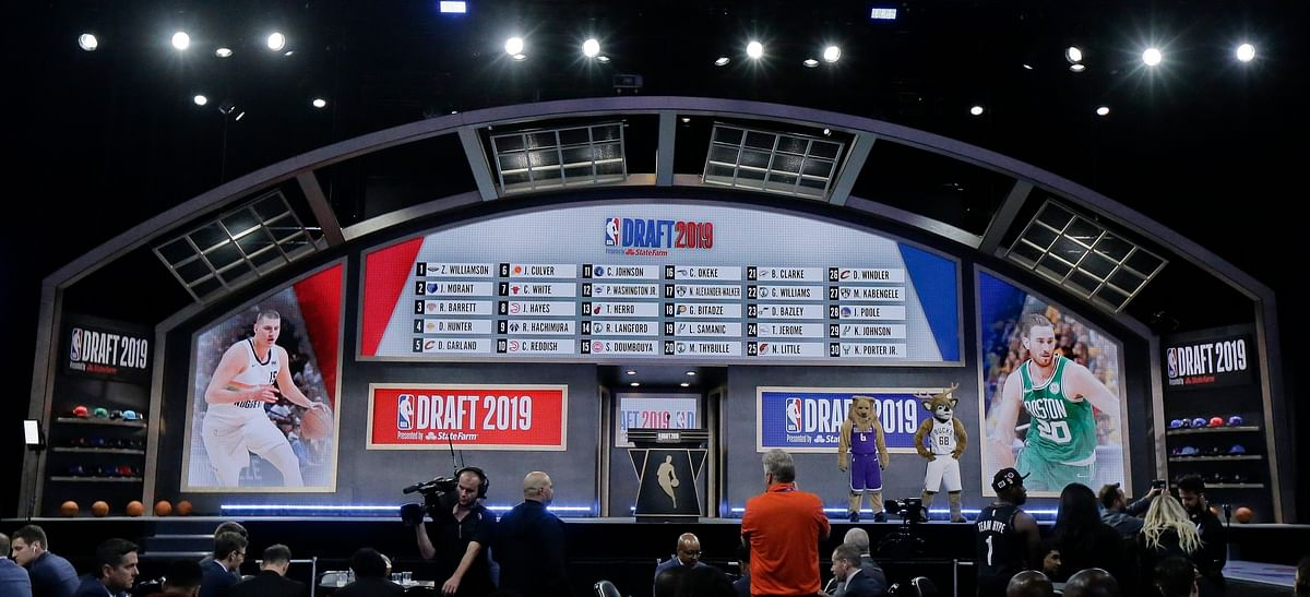 The draft board at the Barclays Center displays the picks for the first round of the NBA Draft on June 20 (Julio Cortez)