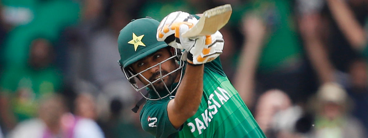 Pakistan's Babar Azam hits a shot off the bowling of South Africa's Andile Phehlukwayo during their Cricket World Cup match between Pakistan and South Africa at Lord's cricket ground in London, Sunday, June 23, 2019. (AP Photo/Alastair Grant)Date:Jun 23, 2019 8:39AM (GMT 12:39)Slug:Britain CWC CricketHeadline:Britain CWC CricketSource:AP