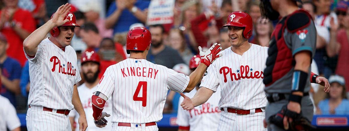 Phillies' Scott Kingery is congratulated after hitting a home run at Citizens Bank Park on June 11 (Matt Slocum)
