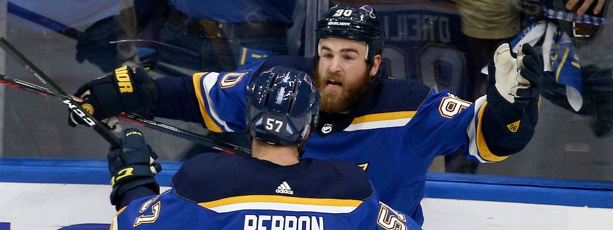 Blues' David Perron and  Ryan O'Reilly celebrate a goal in Game 3 on June 3 (Scott Kane)