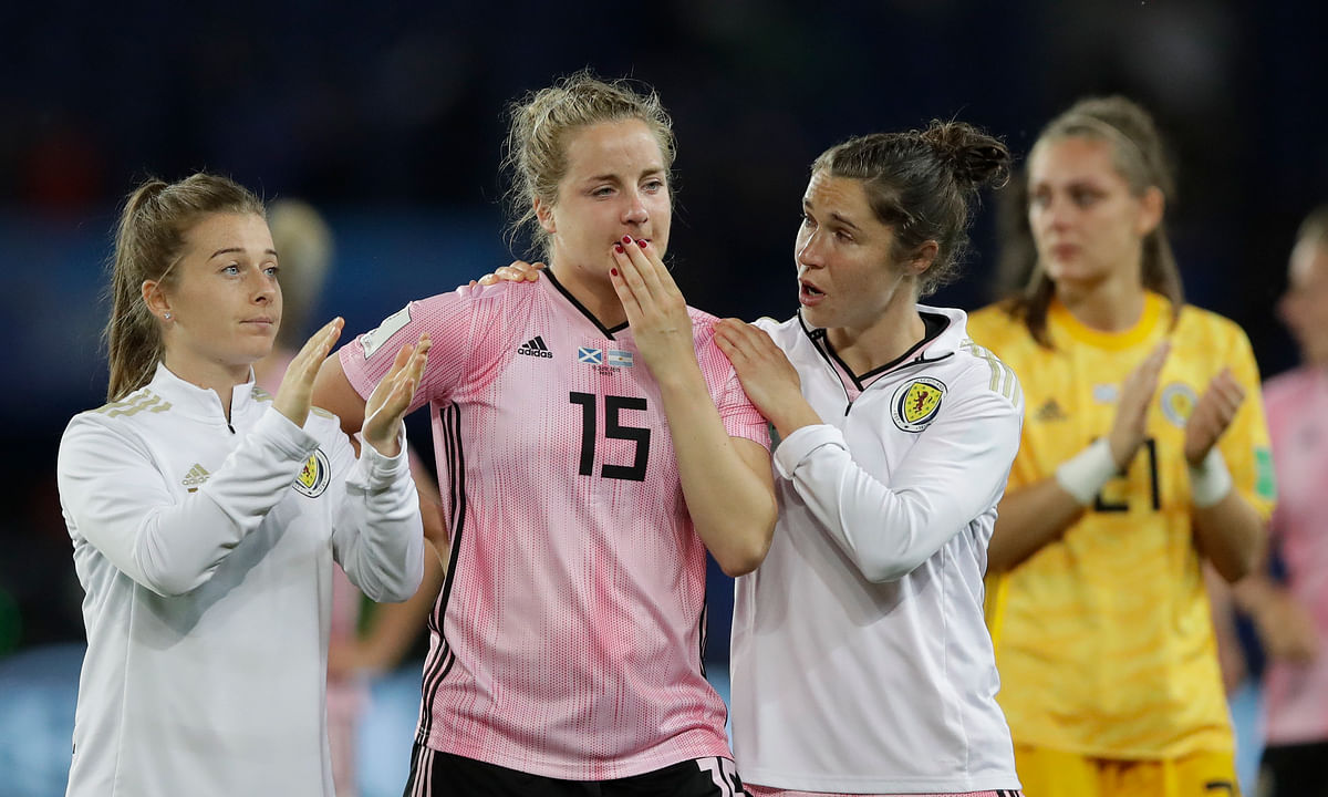 Argentina sets Women's World Cup record by coming from 3 goals down to tie Scotland 3-3, ousting the Scots