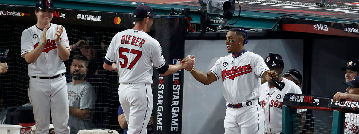 Indians Shane Bieber (57) leaves the field after striking out the side in the fifth inning of the All-Star Game on July 9 (Ron Schwane)