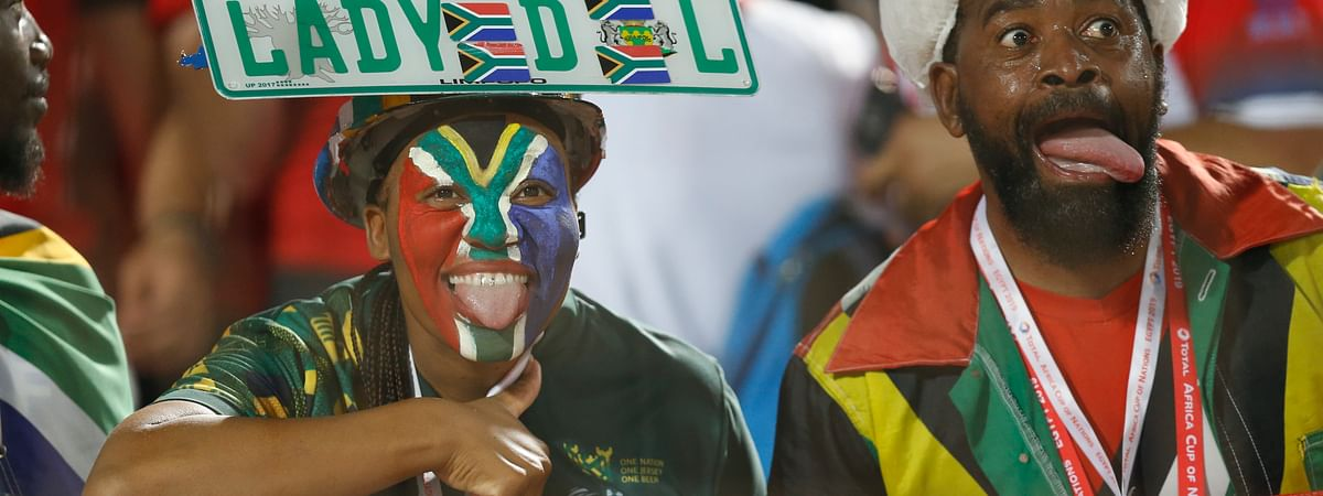 No game shots have moved yet, so instead we have this picture of South African fans cheering their team on against Egypt  in Cairo International stadium in Cairo, Egypt, Saturday, July 6, 2019. (AP Photo/Ariel Schalit)