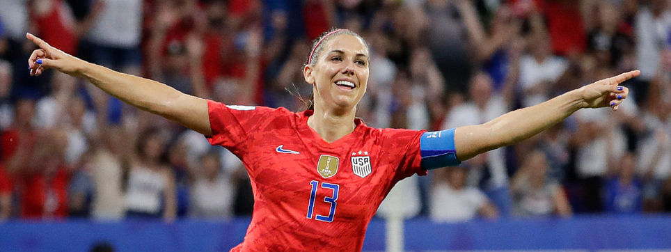 United States' Alex Morgan celebrates after scoring against England on July 2 (Alessandra Tarantino)
