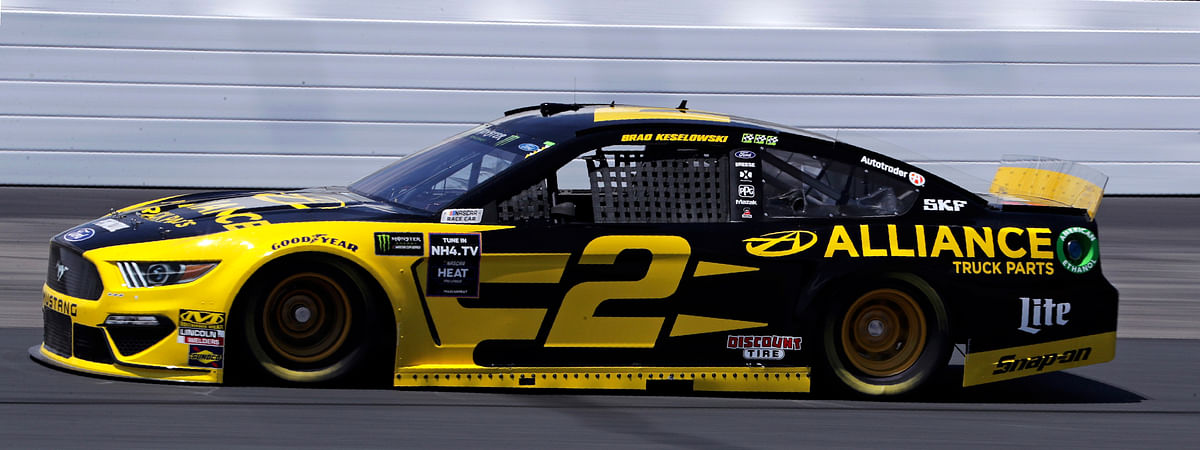 Brad Keselowski heads down the track during practice for the NASCAR Cup Series auto race at New Hampshire Motor Speedway in Loudon, N.H., Friday, July 19, 2019. Keselowski earned the pole during qualifying. (AP Photo/Charles Krupa)