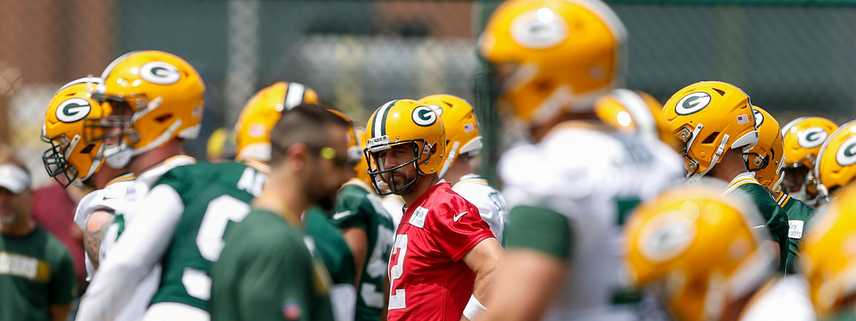 Green Bay Packers quarterback Aaron Rodgers (12) looks on during NFL team practice, Tuesday, June 4, 2019 in Ashwaubenon, Wis. (Chris Kohley/The Post-Crescent via AP)