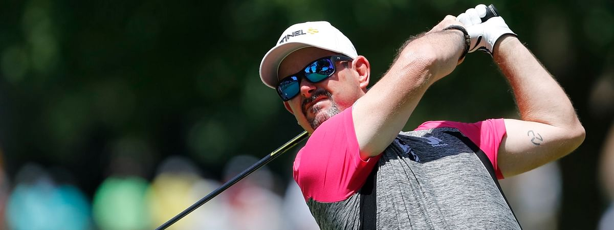 Rory Sabbatini drives on the second tee during the final round of the Rocket Mortgage Classic on June 30 (Carlos Osorio)