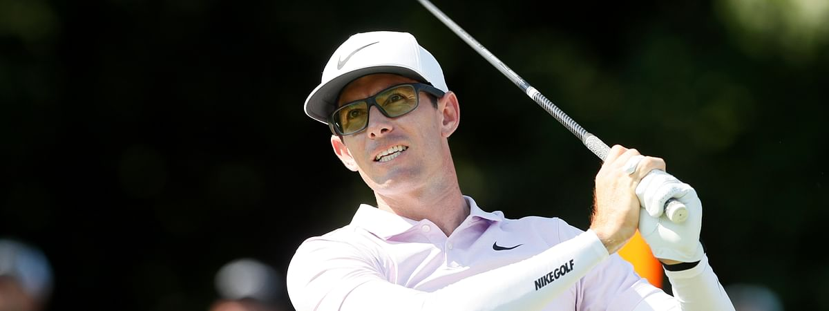Dylan Frittelli hits off the 18th tee during the final round of the John Deere Classic golf tournament, Sunday, July 14, 2019, at TPC Deere Run in Silvis, Ill. (AP Photo/Charlie Neibergall)